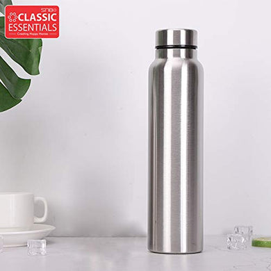 Classic Essentials Spring Stainless Steel Single Walled Fridge Water Bottle (1000ml, Silver)