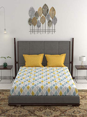 Dusk & Dawn 100% Cotton Double Bedsheet with 2 Pillow Covers- Muriel Yellow