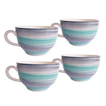 Load image into Gallery viewer, Era India Ocean Ceramic Mugs for Coffee, Tea, Milk 330ml - Tableware, Ideal Drinking Cups for Gifts, Microwave Safe, Dishwasher Safe (Grey & Cyan) (4)