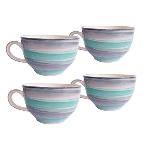 Era India Ocean Ceramic Mugs for Coffee, Tea, Milk 330ml - Tableware, Ideal Drinking Cups for Gifts, Microwave Safe, Dishwasher Safe (Grey & Cyan) (4)