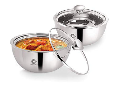Crown Craft - Gravy Pot Double Wall Insulated Stainless Steel Serve Fresh Casserole with Glass Lid, Set of 2 (500ml Each)