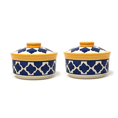 The Earth Store Ceramic Handcrafted Microwave Safe Moroccan Yellow Blue Dinner Serving Bowl/Donga/Casserole Set with Lid for Home Kitchen, Dining Table Serving Ware Storage Containers (Set of 2)