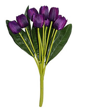 Load image into Gallery viewer, Fourwalls Beautiful Artificial Polyester and Plastic Tulip Flower Bunch (9 Head Flower, 38 cm Total Height, Purple, Set of 2)