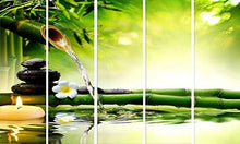 Load image into Gallery viewer, Kyara Arts Split Wall Painting in Multiple Frames || Wooden Framed Art Panels || 7mm Hard MDF Board Painting Ready to Hang-Beautiful Green Bamboo Digital Wall Painting || 5pcs (148cm x 76cm) - Home Decor Lo
