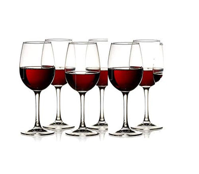 Rexez Red Wine Glasses | Whisky Glass, Clear, 350 ml Goblet Wine Glass - Ideal for White or Red Wine Glass, Set of (6)