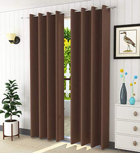 Home Weavers Polyester Printed and Long Crush Curtain for Door, 8feet, Coffee, Pack of 3