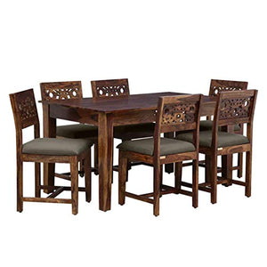DriftingWood Wooden Dining Table 6 Seater | Six Seater Dinning Table with Cushion Chairs | Dining Room Sets | Sheesham Wood, Natural Honey