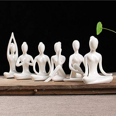 LuvBells® Set of 6 Small Ceramic Yoga Lady Figurines for Home Decor Sculpture (Height 8.5cm Each)