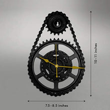Load image into Gallery viewer, Upcycle Metal Wall Clock (7.5-8.5 x 10-11 inch, Black & Gold)