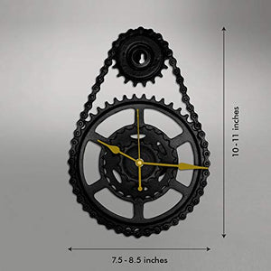 Upcycle Metal Wall Clock (7.5-8.5 x 10-11 inch, Black & Gold)
