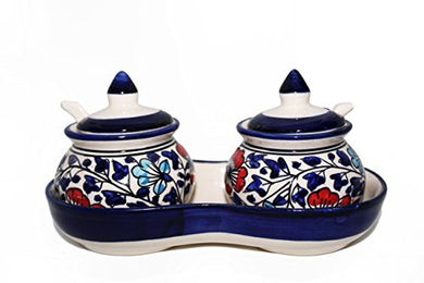 Mirakii Blue Color, Ceramic Pickle and Spice Jar Set Of Two With Spoons, Flower Pattern