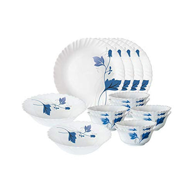 Larah By Borosil Ageria Opalware Dinner Set, 14-Pieces, White