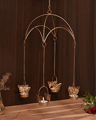 Collectible India Iron Umbrella Butterfly Shape T light Wall Hanging Candle Holders Votive for Home Decor
