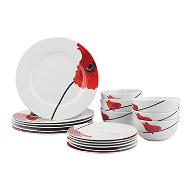 AmazonBasics 18-Piece Kitchen Porcelain Dinnerware Set, Dishes, Bowls, Service for 6, Poppy