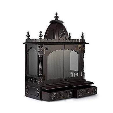 Aakaar Idols & Temples - Handcrafted Pooja Temple Mandap in Teak & MDF for Wall Mounting at Home and Office (24 VC WD)