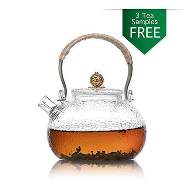 Te.Cha Tea Pot Cum Glass Kettle with Tea Infuser | Borosilicate Glass Carafe | Microwave & Stove Safe | Replacement Guarantee - Home Decor Lo