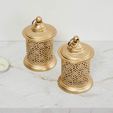 Home Centre Helios Baroque Cutwork Metal T-Light Holder- Set of 2
