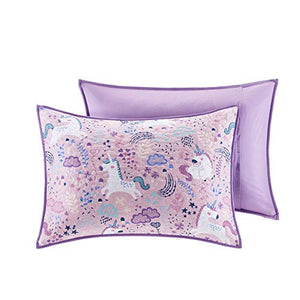 Urban Habitat Kids Lola Reversible Cotton Unicorn Floral Flower Botanical Printed Embroidered Pillow Soft Down Alternative Hypoallergenic Season Coverlet Quilts Bedding-Set, Full/Queen, Pink
