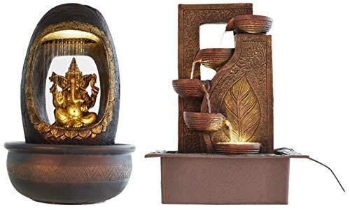 eCraftIndia Lord Ganesh and Round Textured Polystone Water Fountain (27 cm X 27 cm X 40 cm, Brown) & Five Steps Polystone Water Fountain (31 cm X 23 cm X 42 cm, Brown) Combo - Home Decor Lo