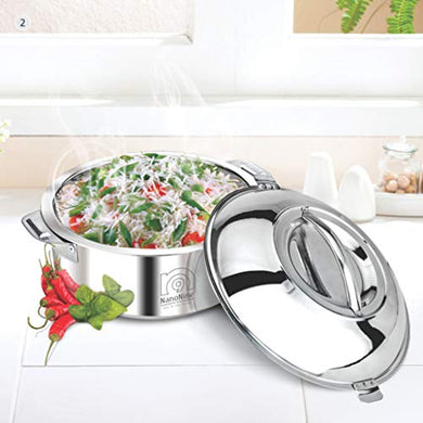 NanoNine Hot Chef Double Wall Insulated Hot Pot Stainless Steel Casserole with Steel Lid, 2.85 L, 1 pc
