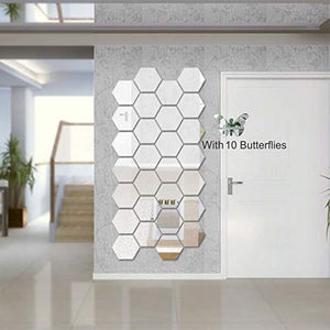 Wall1ders - Hexagon-Silver (Pack of 28) with 10 Butterflies 3D Acrylic Mirror Wall Stickers for Living Room, Hall, Bed Room & Home - Home Decor Lo