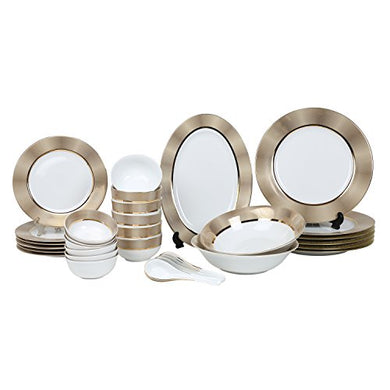 Decorium Designer New Kitchen Accesseries Porcelain 33 Pieces of Dinner Set/Dinnerware/Serveware Set, Ideal Place Setting Set, Round Assorted Dinner Set (15680A)(Golden)