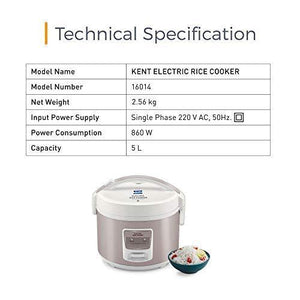 KENT Electric Rice Cooker 5-litres 700-Watt (White and Reddish Grey)