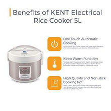 Load image into Gallery viewer, KENT Electric Rice Cooker 5-litres 700-Watt (White and Reddish Grey)
