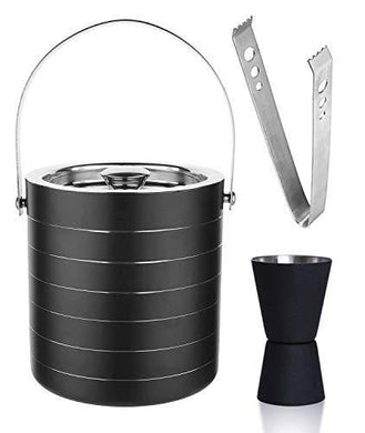 HAINE Barware Bar Set of Double Wall Insulated Ice Bucket 1750 ml with Lid | Peg Measure Jigger | Tong, Stainless Steel - Home Decor Lo