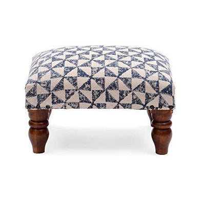 Natural Furnish Cotton Printed Rug Upholstered Wooden Small Size Foot Stool Ottoman Pouffe (Standard, Green) - Home Decor Lo
