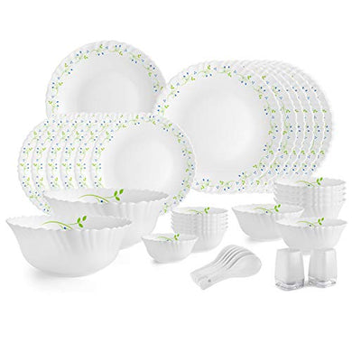 Cello Opalware Dazzle Tropical Lagoon Dinner Set, 35PCs, White