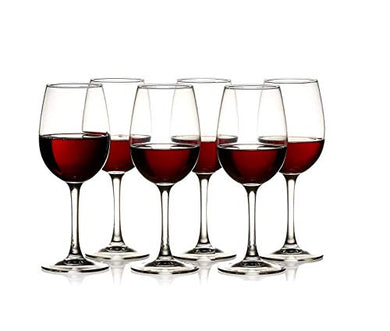 JUSTNOW Glass Goblet Wine Glass - 6 Pieces, White, 250 ml