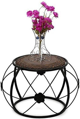 Gift_n_Decore Wooden and Wrought Iron Side End Tea Coffee | Bedroom Table
