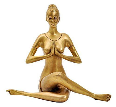Aesthetic Decors Yoga Lady Sitting Showpiece - 22 cm (Brass, Gold) - Home Decor Lo