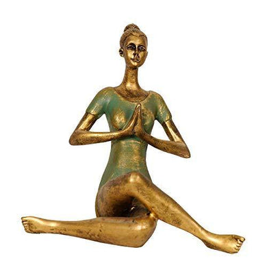 NIYASH Yoga Lady Statue Small (Golden/Green) - Home Decor Lo