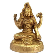 Load image into Gallery viewer, Divya Mantra Hindu God Shiva Shankar Bhagwan Mahayogi Idol Sculpture Statue Murti Brass Puja Room,Temple, Meditation, Office, Business, Home Decor Gift Collection Item/Product-Money, Good Luck -Yellow