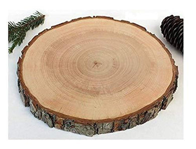 T One Woods Sanded Wooden Log Crafted Slices Disc Platter for Centrepiece Mango (Brown, Large, 10-12Inch)