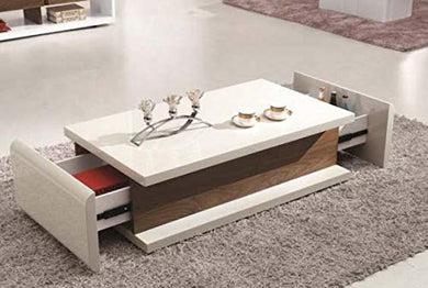 Morwal's Decor Kranmold Drawwer Coffee Table in White PU