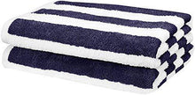 "Load image into Gallery viewer, AmazonBasics 2 Piece Cotton Beach Towel - 477 GSM - 60"" x 30"" (152.4 cm X 76.2 cm) - Cabana Stripe, Navy Blue - Home Decor Lo"