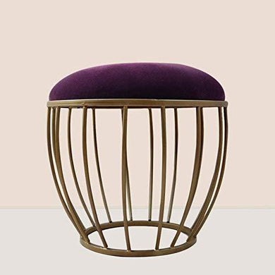 Nestroots Bar Stool | FootStools for Living Room Upholstered with Cushion Metallic Legs for Added Stability(Dark Purple) - Home Decor Lo