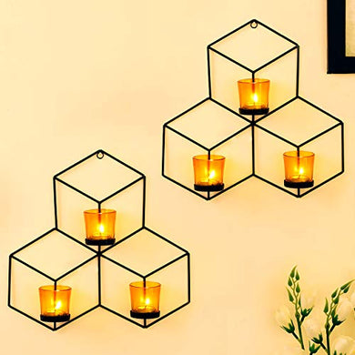 TIED RIBBONS Wall Hanging Tealight Candle Holder with Yellow Glass Votives for Home Décor - Wall Sconce for Diwali Decoration Item