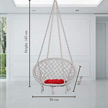 Load image into Gallery viewer, Swingzy Cotton Round Hanging Swing for Kids & Adults,100% Cotton Rope Swing Chair with Square-Cushion for Indoor,Outdoor,Patio,Swing Chair with 3ft. Chain & Hanging Accessories(120 kgs Capacity,White)