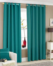 Load image into Gallery viewer, Galaxy Home Decor Solid Plain Curtains for Door 7 Feet, Pack of 2, Aqua (Aqua, Door 7 Feet)