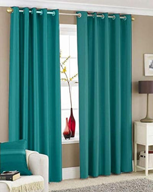 Galaxy Home Decor Solid Plain Curtains for Door 7 Feet, Pack of 2, Aqua (Aqua, Door 7 Feet)