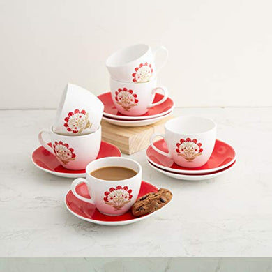 Home Centre Mandarin Printed Cup and Saucer - Set of 12