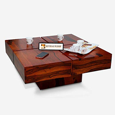 KendalWood Furniture Sheesham Wood Pre Assemble Plus Cut Square Coffee Table for Living Room | Wooden Center Table - Teak Finish
