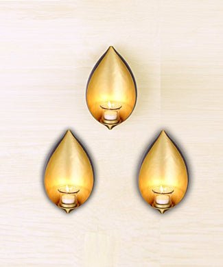 Hosley Decorative Eye Shaped Iron Wall Sconce with Tealight Set Of 3 (14 cm x 9.5 cm x 25.5 cm, Gold)