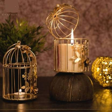 Myric Gold Color Metal Bird cage Tea Light Holder for Home Decor Metal Iron - Cup Candle Holder (Gold, Pack of 2)