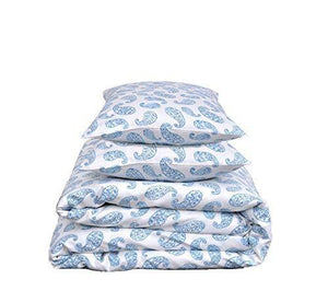 Linenwalas Double Bedsheet with Pillow Covers | 300 TC Premium Cotton Bed Sheet Easy Wash Soft Sateen Weave 90x100 inch - Blue Paisley डबल बेडशीट