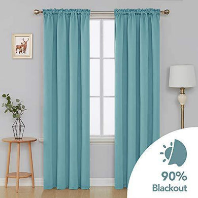 Deconovo Solid Color Light Blocking Curtains Rod Pocket Panels Thermal Insulated Blackout Curtains for Dining Room (7 Feet-Door) 52W x 84L Inch Smoke Blue 2 Panels - Home Decor Lo
